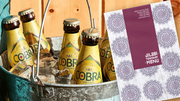 Free cobra beer with every meal for collection only
